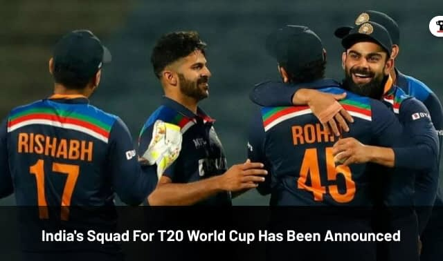 India's Squad For T20 World Cup